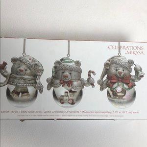 Mikasa Teddy Bear Snow Globe Ornaments